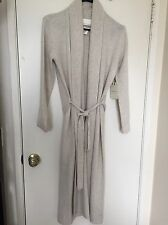 Cynthia Rowley 2-Ply Cashmere Belted Ribbed Collar Cardigan Robe beige Small