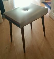 Vintage Mid Century Danish Atomic Style Stool Beige Faux Leather Padding