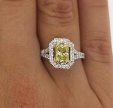 2.03 Ct Radiant Cut  Fancy Yellow Vs1 Diamond Engagement Ring 18K Gold Enhanced
