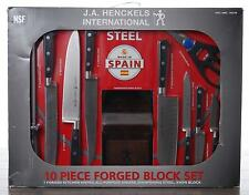 J.A. Henckels International 10-Pc Forged Block Set Kitchen Knives Steel Couteau
