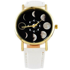 Fashion Ladys Moon Phase Astronomy Space Watch Womens Leather Quartz Wrist Watch