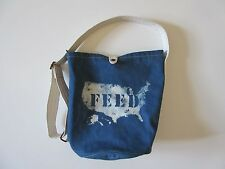 FEED USA for GAP Blue Cotton Denim Canvas Bucket Purse Sling Shoulder Bag