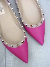 $745 Valentino AUTH NIB Rockstud Pink Leather 39 Ballerinas 5MM Flats