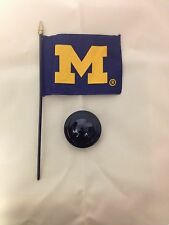 "UNIVERSITY OF MICHIGAN 4X6"" TABLE TOP FLAG W/BASE DESK TOP STICK FLAG NEW U of M"