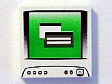 LEGO - Tile 2 x 2 with Computer Monitor Pattern - White
