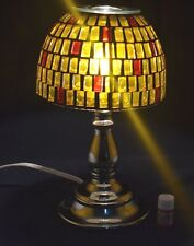 Electric Glass Metal Yellow/Red Mosaic Oil Warmer/Burner Lamp with bonus oil