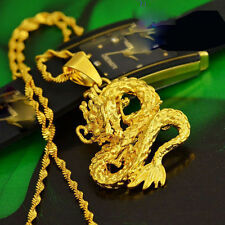 Golden Dragon Pendant Necklace Chain Women Men Solid Real Yellow Gold Filled NEW