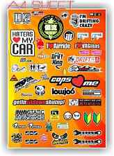 RC DRIFT STICKER SHEET A4 1/10 ABC HPI MST YOKOMO TAMIYA BODY PANDORA 3 RACING 5