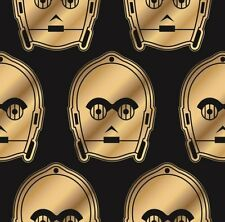 Star Wars Metallic C3PO on Black Cotton Fabric ~ 44 x 7 remnant