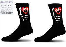 Black I love Border Collie Dogs With a Paw Print Design Socks