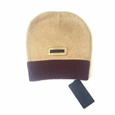 NWT $260 Prada Men's Tan Wine Red Cashmere Wool Colorblock Beanie Hat AUTHENTIC