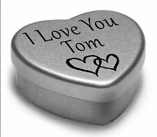 I Love You Tom Mini Heart Tin Gift For I Heart Tom With Chocolates or Mints