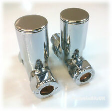 "Modern Straight Radiator Valves Chrome Plated 15mm x 1/2"" for Heated Towel Rails"