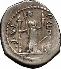 Roman Republic 42BC Apollo Lyre Diana as Moon Torches Ancient Silver Coin i57347