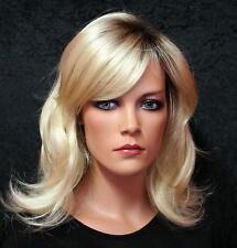 DAMEN PERÜCKE BLOND mit DUNKLEM HAARANSATZ lang weiblich Frauenperücke wig P25