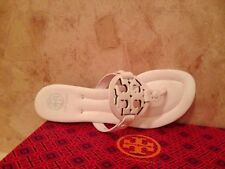 NIB Tory Burch Miller 2 Handpainted Thong Sandals Shoes Leather WHITE 8 M