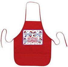 RED APRON CUSTOM RED HAT HAPPY BLUE BIRDS FOR LADIES OF SOCIETY TEAS OR LUNCHEON