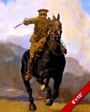 WWI WORLD WAR BRITISH ARMY OFFICER CAVALRY CHARGE PAINTING REAL CANVAS ART PRINT