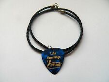"5SOS LUKE HEMMINGS Guitar Picks signature gold stamped 20"" leather NECKLACE"