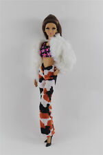 4in1 Fashion White Fur Coat+Vest+Pants+Shoes Outfit Clothes FOR Barbie Doll