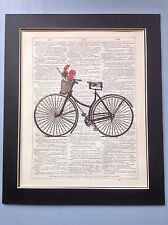 Bike Poppies In Basket gift Idea Antique Dictionary Page Art #89