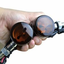 Black Skull Lens Turn Signal Amber Light LED For Motorcycle Harley US Stock Pair