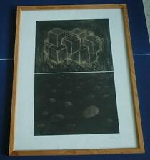 Geometric Framed Signed Double Etching - 1 With Cubes and 1 With Circles 9/25