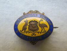 MARRICKVILLE BOWLING & RECREATION CLUB SYDNEY ENAMEL BADGE LAWN BOWLS c1940s