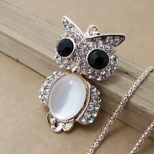DD317 New design gold plating Crystal Owls sweater chain necklace
