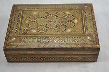 Vintage Egipcio Con Incrustaciones De c.1920s Caja de madera con Madre de Perla