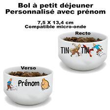 Bol à petit déjeuner Tintin personnalisé avec prénom (mug, tasse)