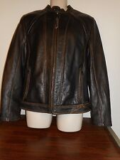 Andrew Marc Men's Sz M Black Leather Motorcycle Jacket-Zip Front-Zip Cuffs