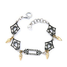 Symmetry Glass Crystal Pavé Cutout Charm Bracelet Graced Brand Vintage Glamour