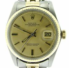 Rolex Datejust Mens 2Tone 14K Gold & Steel Watch Oval Link USA Jubilee Band 1601