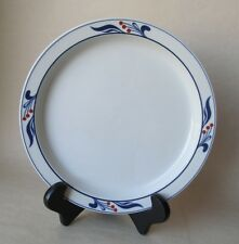 1 Dansk Bistro MARIBO Japan DINNER PLATE Blue White with Red Berries