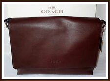 NWT $450 Coach Calf Leather Charles Briefcase Laptop Messenger Bag MAHOGANY 2016