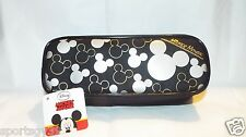 Disney Mickey Mouse Black SILVER Pencil Crayon Make up Cosmetic Bag Case Pouch