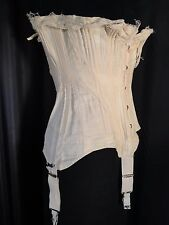 vintage Victorian cotton Corset shabby Busk lacing Boned ivory Harners 4 garters
