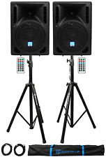 "(2) Rockville RPG8BT 8"" 800w Powered BlueTooth/USB DJ Speakers+Stands+Cables"