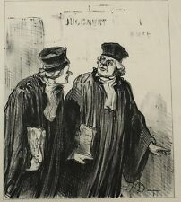 Honore Daumier France 1808-1879 Judicial theme Lithograph on Japan Paper