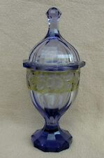 ANTIQUE BOHEMIAN MOSER ART DECO ALEXANDRITE CUT GLASS SWEETMEAT JAR POT & COVER