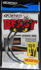 OWNER 5130W-080 WEIGHTED BEAST w/ TWISTLOCK Hook Size 10/0  1/2 oz Weight 2 Pack