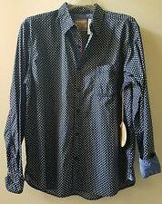 ITALIA Men's Navy Print LS Button Up Shirt SIZE XL Retail $99 NWT (10)