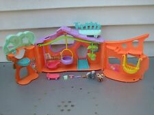 LITTLEST PET SHOP LPS CLUBHOUSE TREE HOUSE PLAYSET COMPLETE SQUIRREL CHIMPANZEE