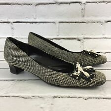 Salvatore Ferragamo Heels Black & White Bow Tweed Woven Womens Size 8 8B Vintage