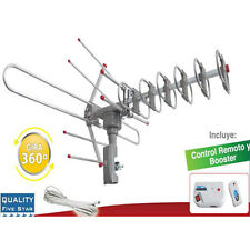 HDTV Outdoor Amplified Antenna HD TV 36dB Rotor Remote 360° UHF/VHF/FM 180 Miles