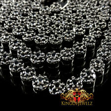New 14k Black Gold Finish High Quality Lab Diamond Flower Cluster Chain Necklace