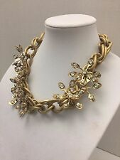 """TORY BURCH """"IDELLE"""" GOLD PEDAL FLOWER NECKLACE OPALESCENT JEWEL ACCENTS"""