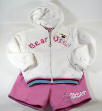 BNWT BEAR USA Girls PRETTY 2 PIECE Pink White HOODIE & SHORT Set Age 6 - 7 Years