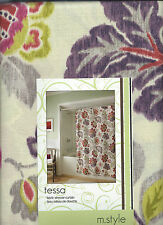 TESSA FLORAL PURPLE, MAGENTA, CORAL, LIME, GREY SHOWER CURTAIN